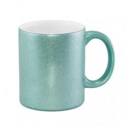 Caneca de Cerâmica Glitter Azul Tiffany Importada