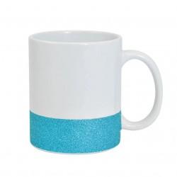 Caneca de Cerâmica Base Glitter Azul Importada