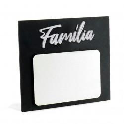 Porta-retrato de MDF Texturizado Preto/ Branco - FAMÍLIA