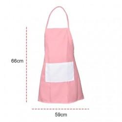 Avental Adulto Rosa com Bolso Branco
