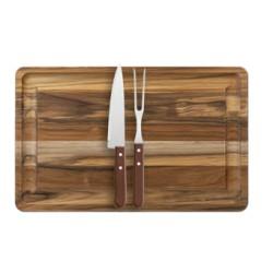 Conjunto churrasco Teca com garfo e faca